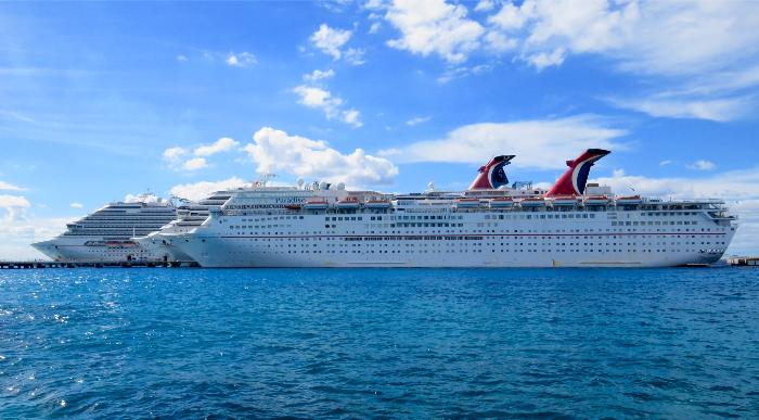 Three Carnival Cruise Ships docked at the nearby Puerta Maya Pier