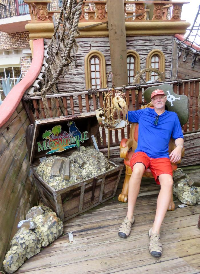 Posing with Margaritaville's Treasure Chest
