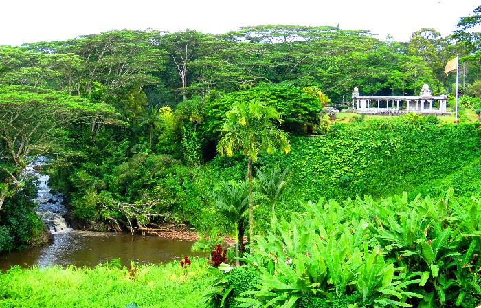 Wailua River, Waterfall and distant Iraivan Temple