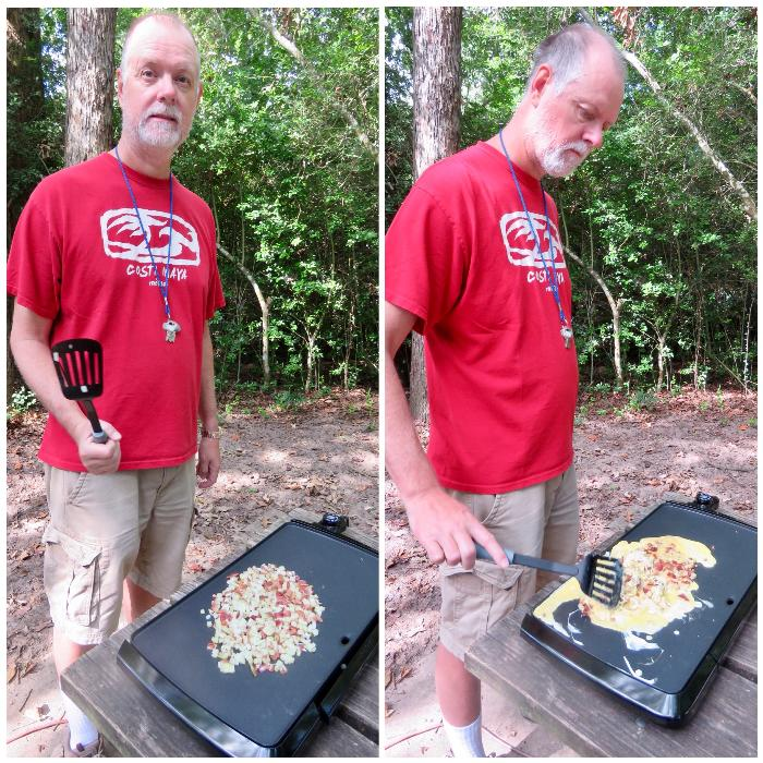Cooking Breakfast Tacos on our Griddle