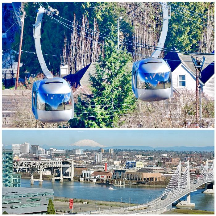 Portland Aerial Tram Cabins (Top) & View from Tram (Bottom)