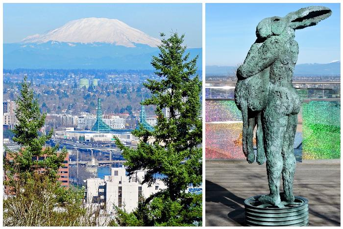 View from OHSU Upper Rooftop Terrace (L) & Standing Lady Hare with Dog (R)