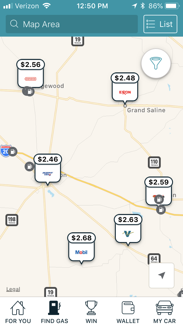 Gas Options by Map