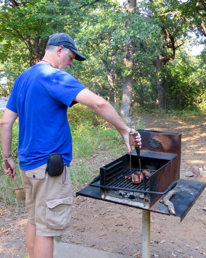 Grilling Dinner at Doris Campground