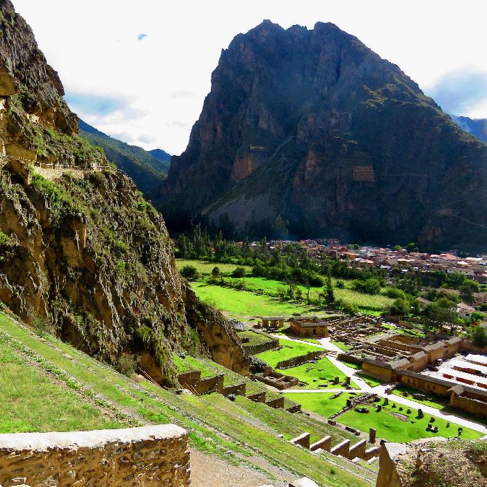 Looking Downtown at Base of Ollantaytambo Ruins and Across to Pinkuylluna