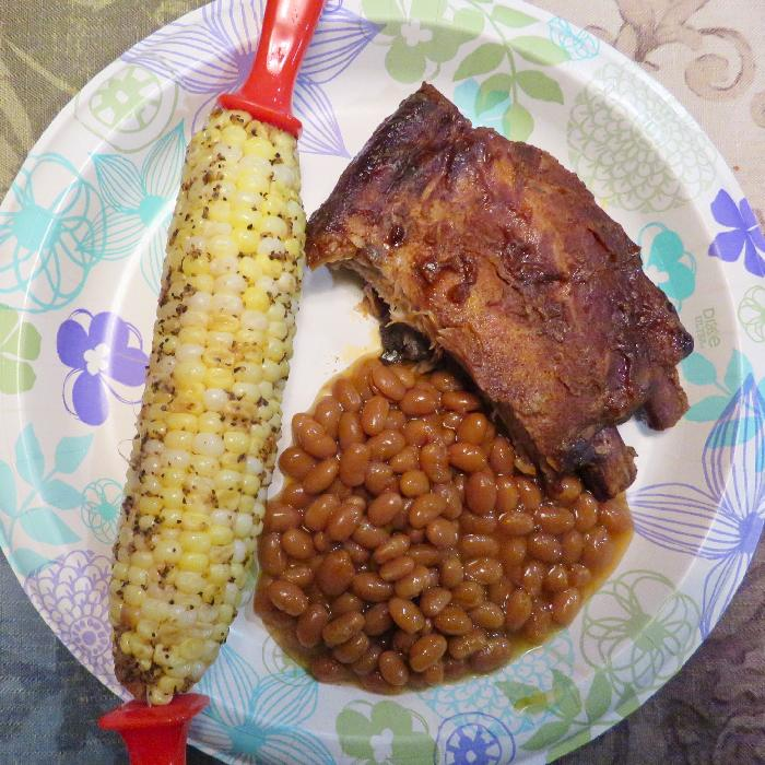 Crockpot Ribs with Baked Beans and Corn on the Cob