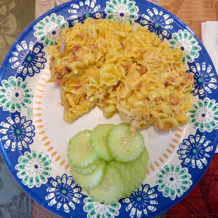 Slow Cooker Crack Chicken Pasta with Cucumber Salad