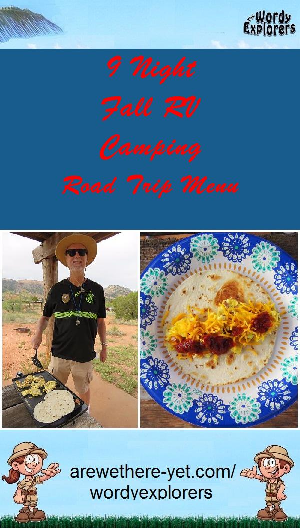 9 Night Fall RV Camping Road Trip Menu