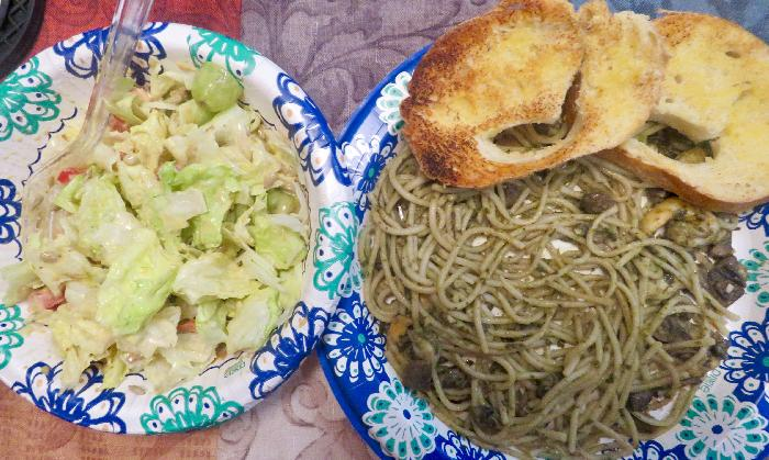 Shrimp and Mushroom Pesto Pasta with Dinner Salad and Garlic Bread