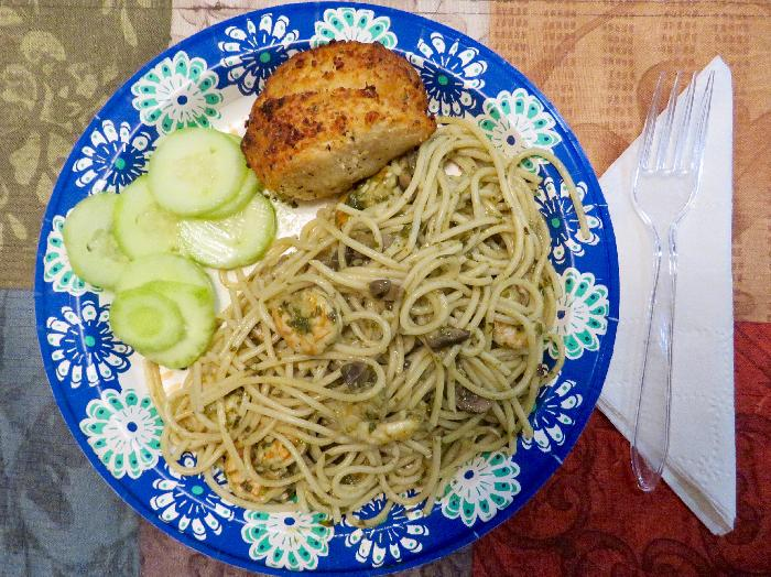 Shrimp and Mushroom Pesto Pasta with Cucumber Salad and Garlic-Parmesan Pull-Apart Loaf