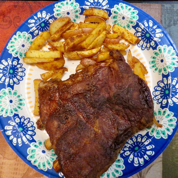 Crockpot Ribs with French Fries