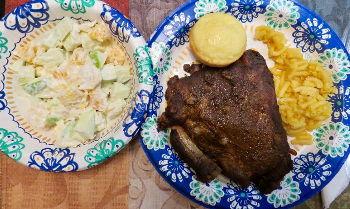 Crockpot Ribs with Macaroni and Cheese, Fruit Salad and Cornbread Muffins