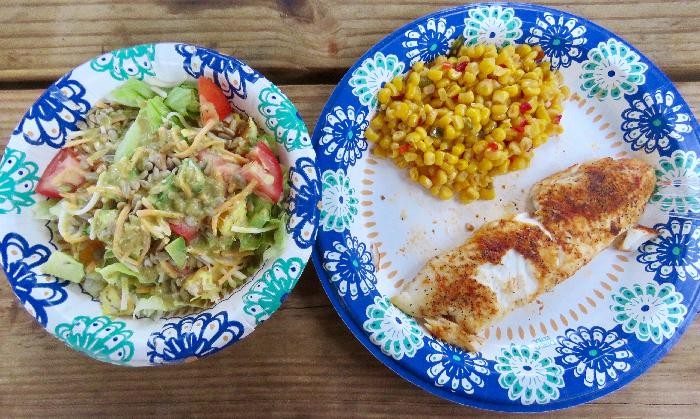 Easy Grilled Tilapia with Mexicorn and Side Salad