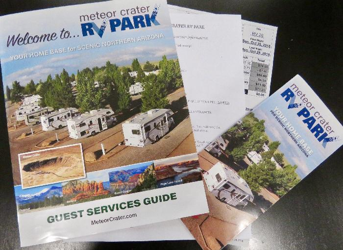 Guest Services Guide Received at Meteor Crater RV Park Check-in