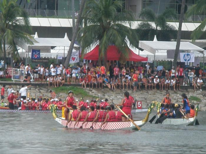 Canoe Races in Marina Bay