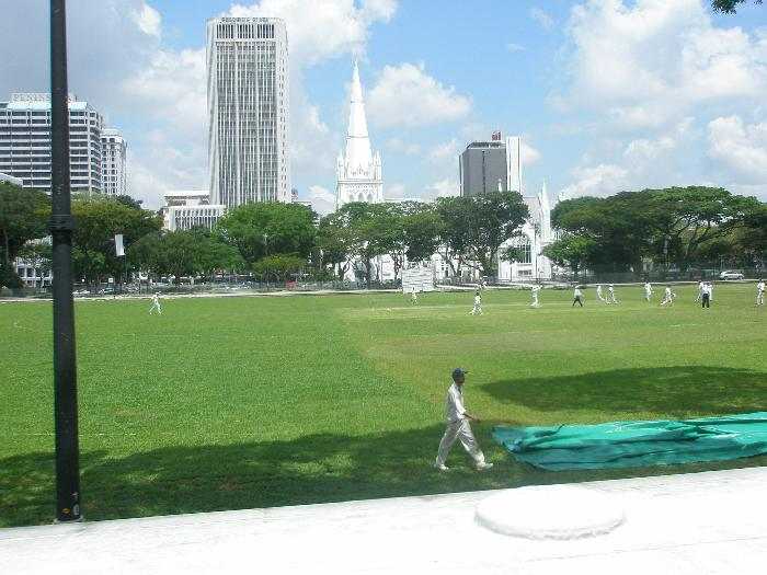 Watching a Game of Cricket in Esplanade Park