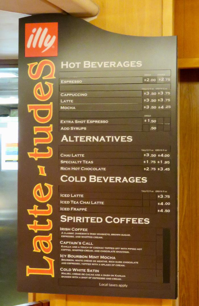 Menu at Cafe Latte-tudes on Rhapsody of the Seas