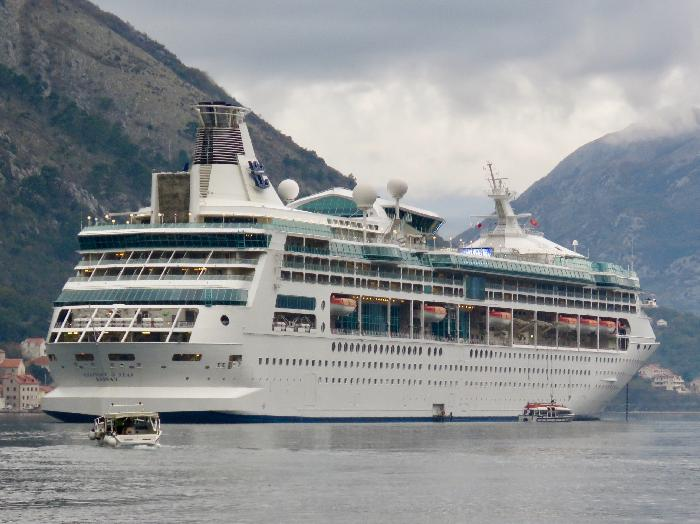 Royal Caribbean Rhapsody of the Seas anchored in Kotor, Montenegro