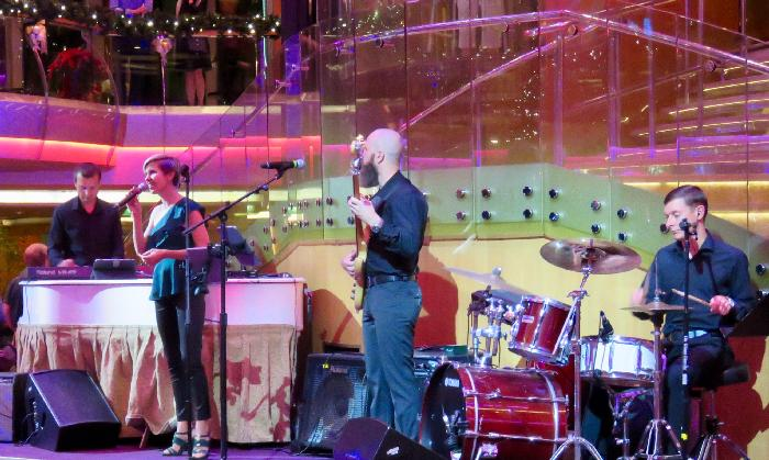 """UP & UP"" Dance Band performing in the Rhapsody of the Seas Centrum"