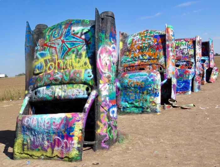 Cadillacs at Cadillac Ranch in Amarillo, Texas