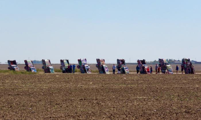 All 10 Cadillacs Lined Up in a Row at Cadillac Ranch