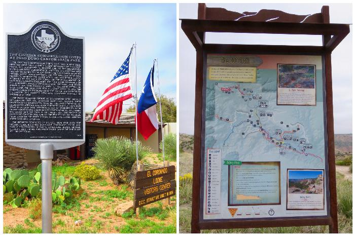 Historical Markers (left) and Palo Duro Canyon State Park Signage (right)