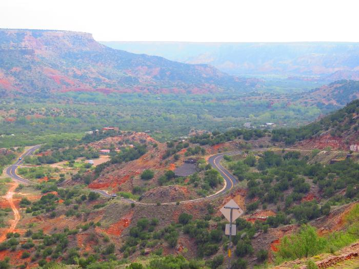 Park Road winding through Palo Duro Canyon State Park