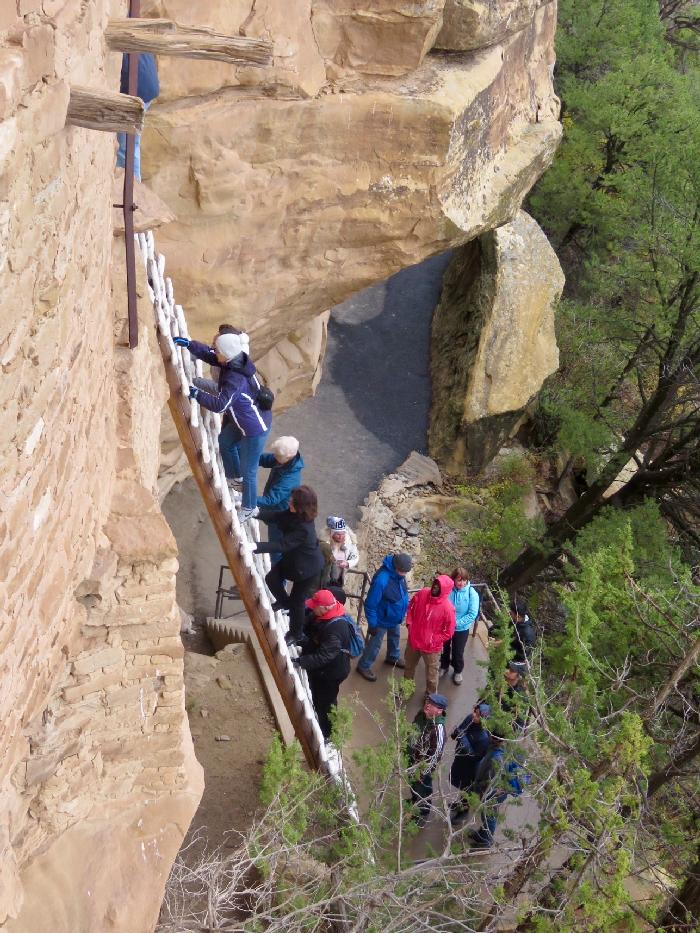 Climbing up to Balcony House in Mesa Verde National Park