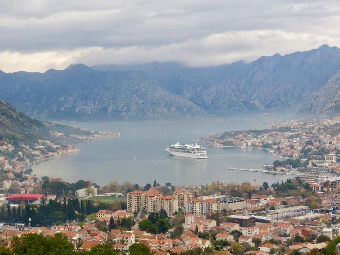 Rhapsody of the Seas anchored in the Bay of Kotor