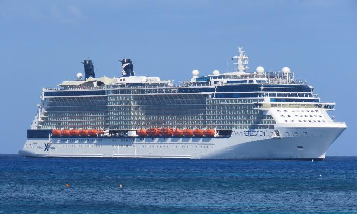 Celebrity Reflection anchored near George Town, Grand Cayman