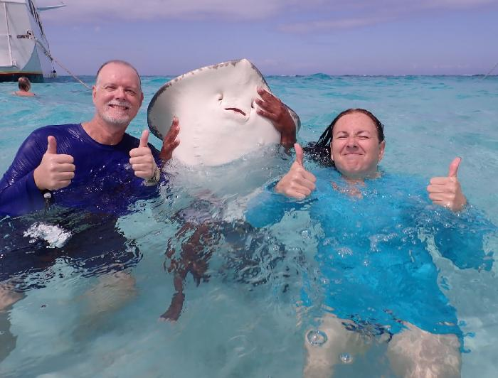 Thumbs Up with a Smiling Orion - Photo Courtesy of Stingray City
