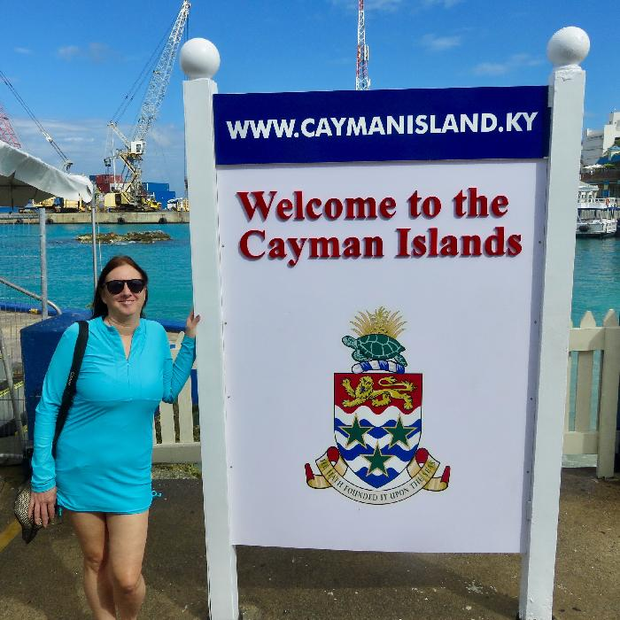 Arriving by Tender at George Town, Grand Cayman with Towel and Sunscreen
