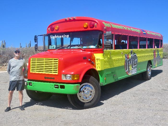 You can't miss the Irie Tours Buses!