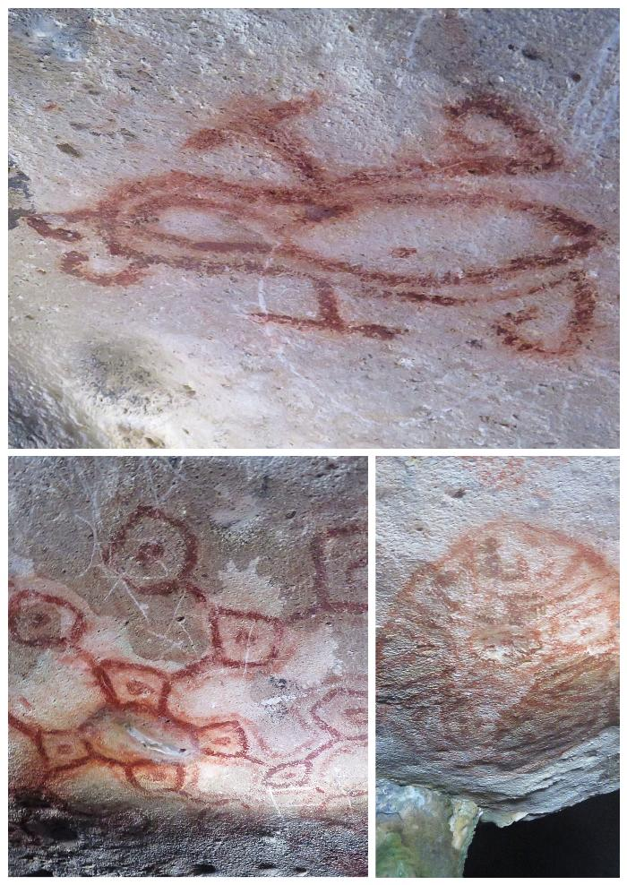 Indian Pictographs inside Fontein Cave