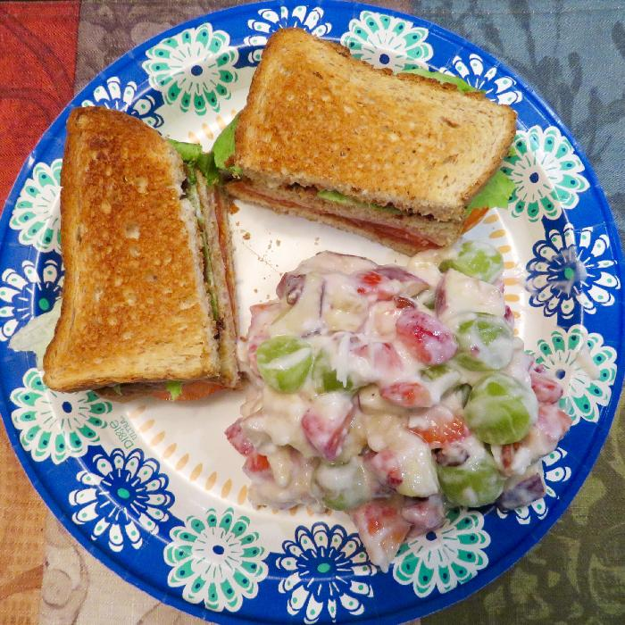 Club Sandwiches with Fruit Salad