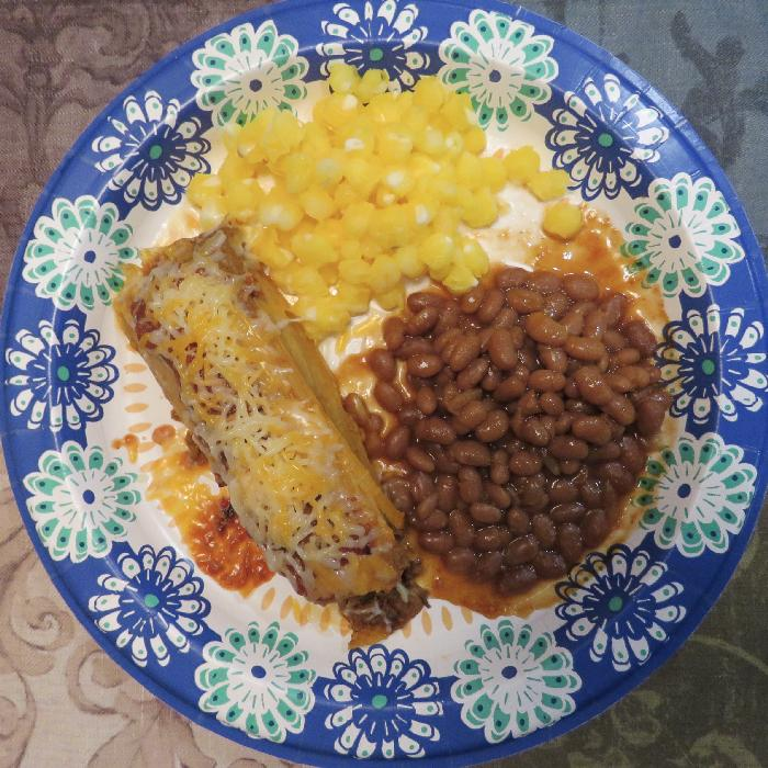 Pork Tamales with Baked Beans and Hominy