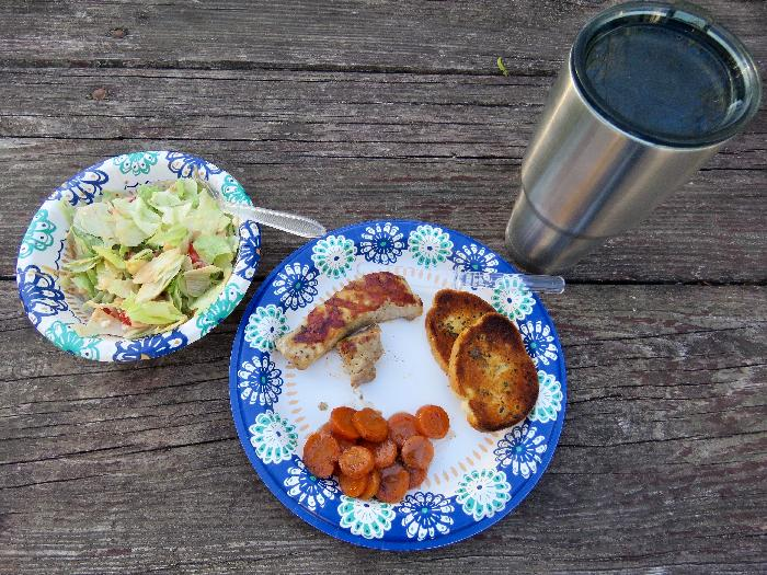 Grilled Pork Tenderloin with Glazed Cinnamon Carrots, Salad & Garlic Bread