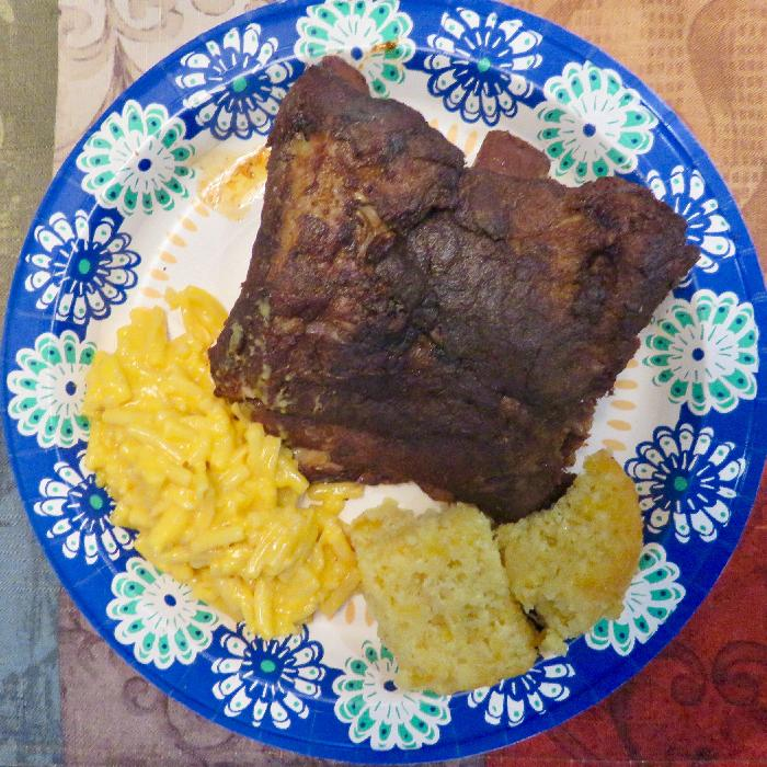 Crockpot Ribs with Macaroni & Cheese and Cornbread