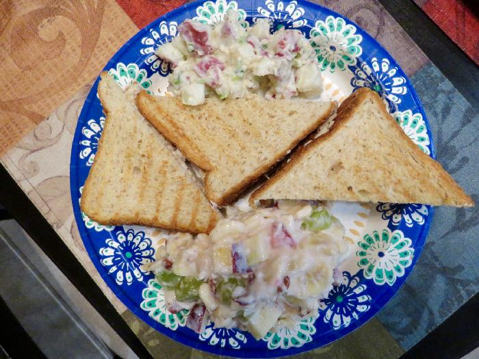 Tuna Salad Sandwiches with Potato Salad and Fruit Salad