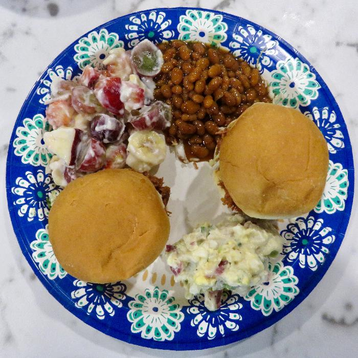 Pork Sliders with Potato Salad, Fruit Salad and Baked Beans