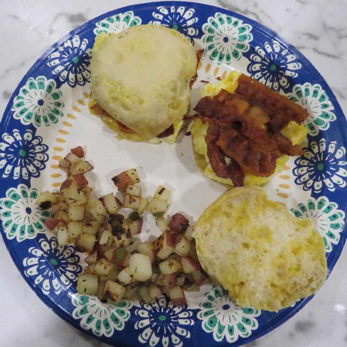 Bacon, Egg and Cheese Biscuits with Breakfast Potatoes