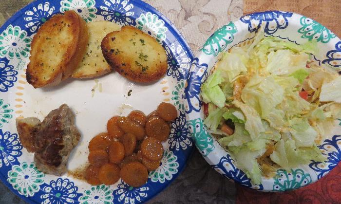 Grilled Pork with Cinnamon Glazed Carrots, Dinner Salad and Garlic Bread