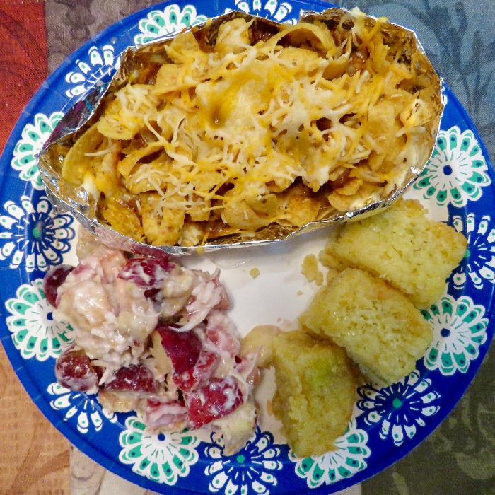 Frito Pie with Fruit Salad and Cornbread