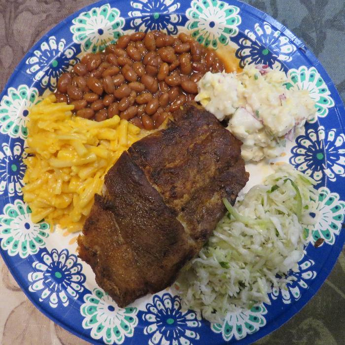 Crockpot Ribs with Macaroni and Cheese, Slaw, Potato Salad & Baked Beans