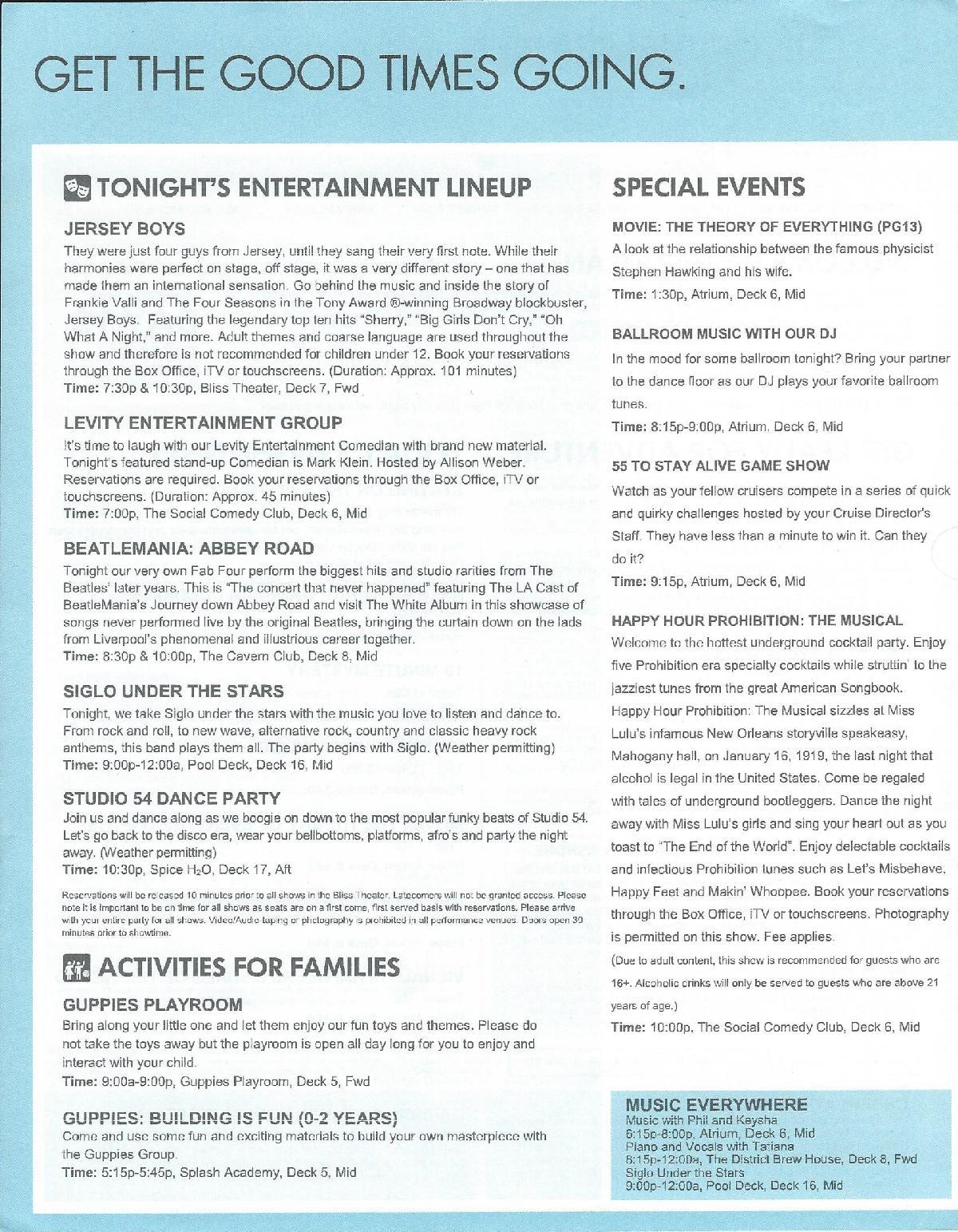 Norwegian Bliss Review: Activities, Events, Entertainment
